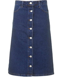 Navy Denim Button Skirt