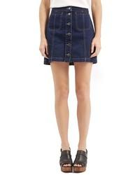Topshop Button Front Denim Miniskirt
