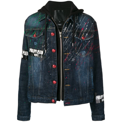 Philipp Plein Paint Splattered Denim Jacket