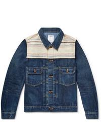 VISVIM Striped Boucl Trimmed Denim Jacket