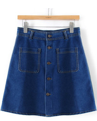 Navy Denim Mini Skirt
