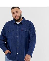 Levi's Big Tall Classic Western Denim Shirt In Core Red Cast Rinse Wash