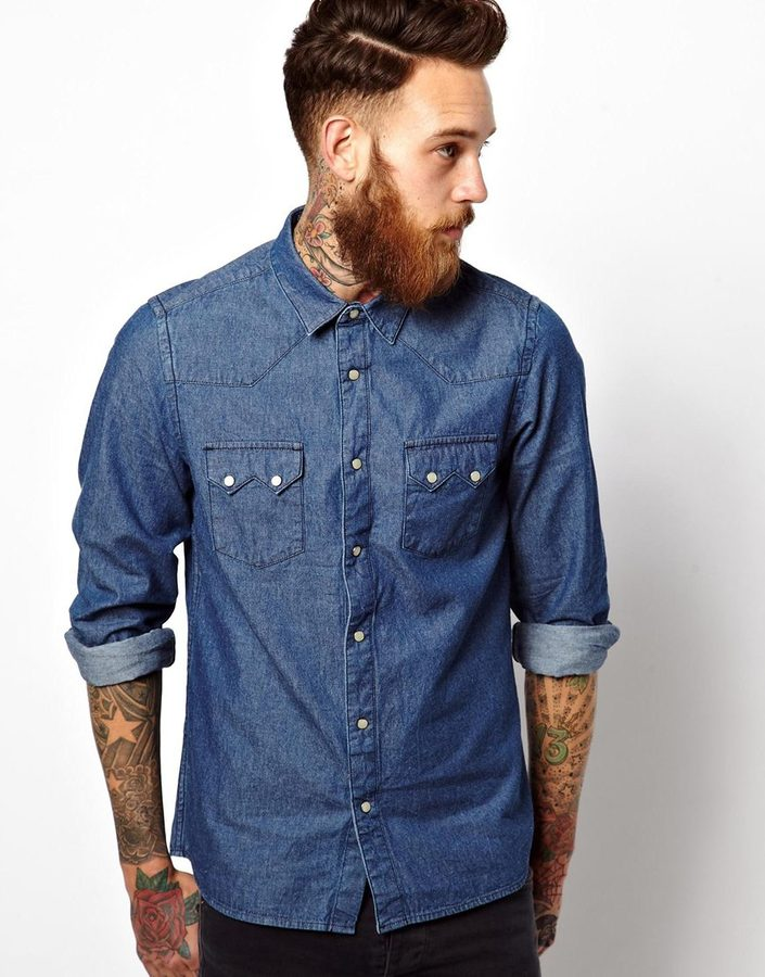 dbf103f020 ... Asos Brand Western Shirt In Long Sleeves With Rinse Wash Denim ...
