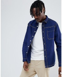 ASOS DESIGN Washed Overshirt Shirt With Contrast Stitching In Navy