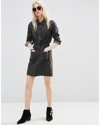 20f0527692a ... Asos Petite Denim Shirt Dress In Washed Black