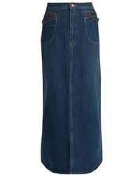 Saint Laurent Patch Pocket A Line Denim Skirt