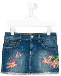 Philipp Plein Junior Embroidered Denim Skirt