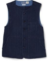 Blue blue japan sashiko textured cotton waistcoat medium 47642