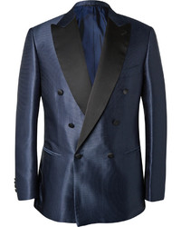 Brioni Blue Slim Fit Silk Jacquard Tuxedo Jacket