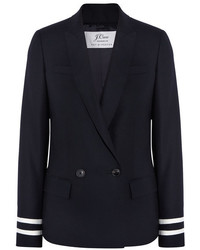 J.Crew Comero Striped Wool Piqu Blazer Navy