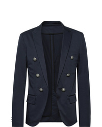 Balmain Midnight Blue Slim Fit Double Breasted Cotton Blend Blazer