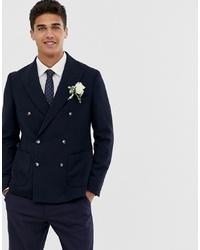 MOSS BROS Moss London Skinny Double Breasted Suit Jacket In Navy