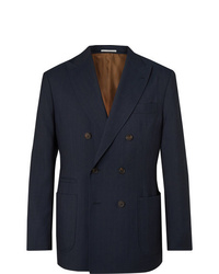 Brunello Cucinelli Navy Double Breasted Pinstriped Wool Linen And Silk Blend Suit Jacket