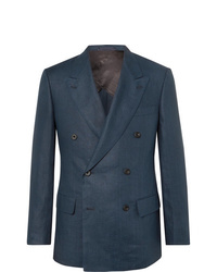 Kingsman Navy Slim Fit Double Breasted Linen Suit Jacket