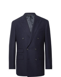 Thom Sweeney Navy Slim Fit Double Breasted Wool Hopsack Blazer
