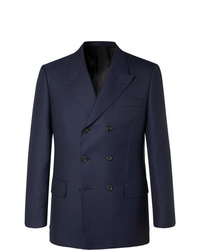Kingsman Rocketman Navy Double Breasted Wool Twill Suit Jacket