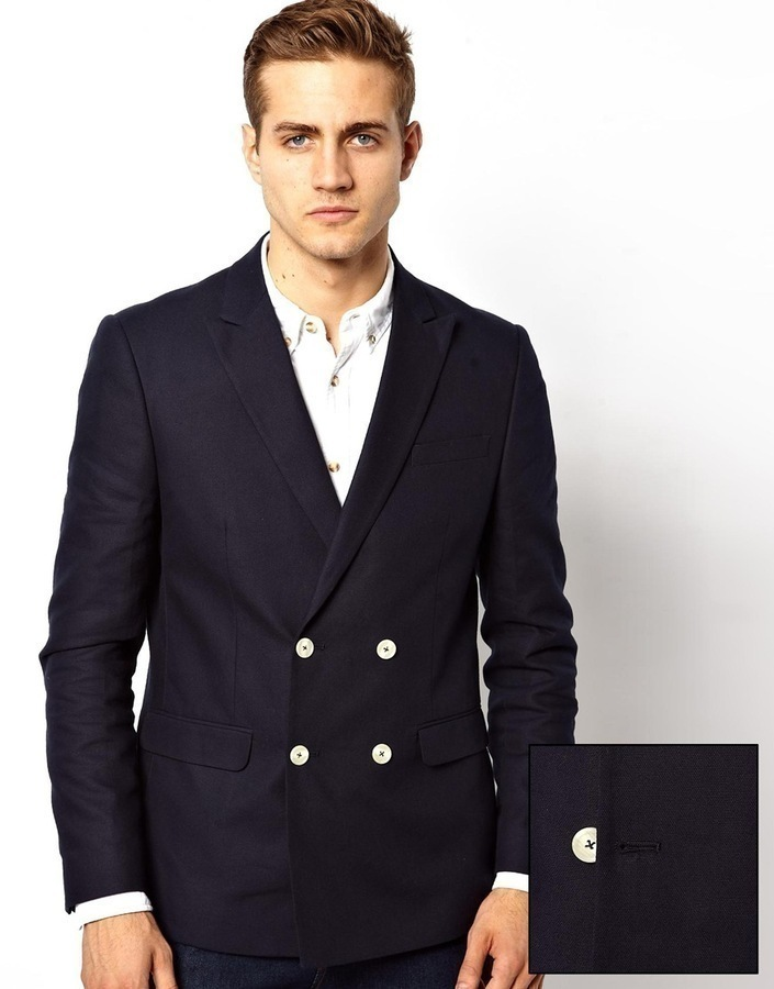 Asos Slim Fit Double Breasted Blazer With White Buttons Navy ...