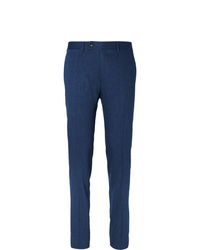 Canali Blue Kei Slim Fit Linen And Wool Blend Suit Trousers
