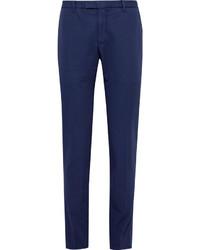 Blue slim fit cotton and linen blend suit trousers medium 1160996