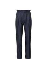 Zanella Midnight Blue Nico Tapered Pleated Virgin Wool And Linen Blend Trousers