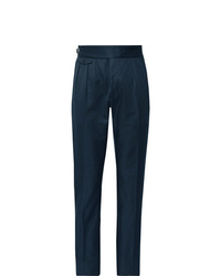 Zanella Midnight Blue Normon Tapered Pleated Cotton And Linen Blend Trousers