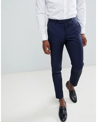MOSS BROS Moss London Skinny Cropped Suit Trousers In Navy