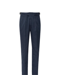 Rubinacci Navy Manny Tapered Pleated Cotton Twill Trousers