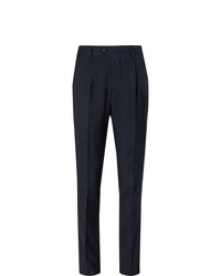 Brunello Cucinelli Navy Slim Fit Pinstriped Wool Linen And Silk Blend Suit Trousers