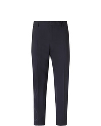 Valentino Slim Fit Logo Print Stretch Virgin Wool Blend Trousers