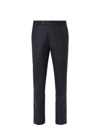 Mr P. Slim Fit Navy Worsted Wool Trousers