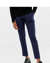 ASOS DESIGN Tall Skinny Smart Trouser In Navy With Cuff And Piping