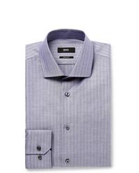 Hugo Boss Blue Slim Fit Herringbone Cotton Oxford Shirt