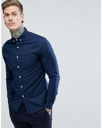 ASOS DESIGN Casual Skinny Oxford Shirt In Navy