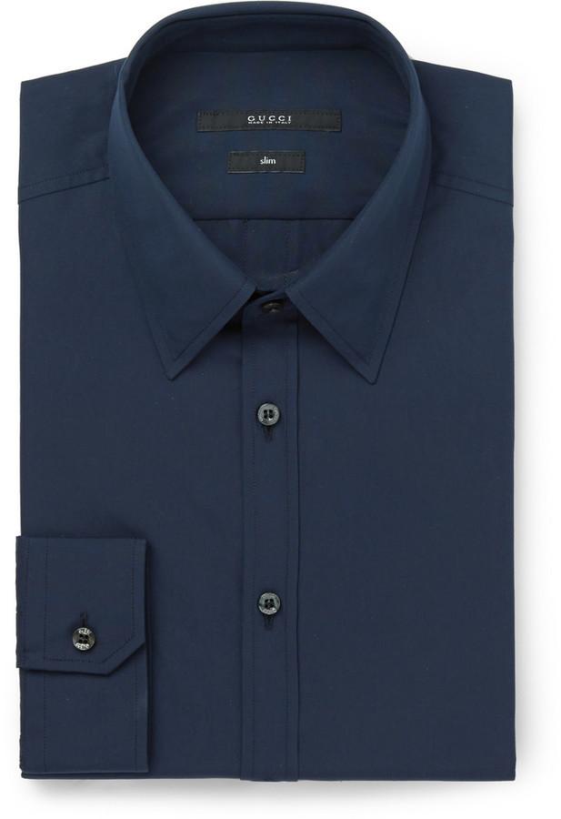 5e1c9516092a Gucci Gucci Blue Slim-Fit Cotton-Poplin Shirt   Where to buy   how ...