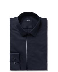 Hugo Boss Midnight Blue Ivan Slim Fit Piped Cotton Poplin Tuxedo Shirt