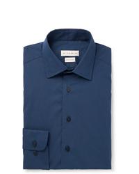 Etro Navy Slim Fit Cotton Blend Poplin Shirt