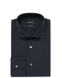 Ermenegildo Zegna Navy Trofeo Slim Fit Cutaway Collar Cotton Poplin Shirt