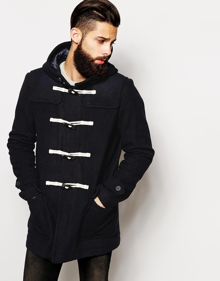 Asos Brand Wool Duffle Coat In Navy   Where to buy & how to wear