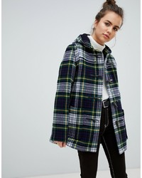 Gloverall Slim Mid Length Duffle Coat In Check And Yellow