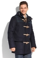 Tommy Hilfiger Coats Melton Wool Hooded Plaid Patch Toggle Coat