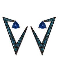 Nikos Koulis Geometric Sapphire And Diamond Earrings