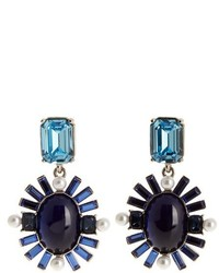 Oscar de la Renta Oval Crystal Embellished Earrings