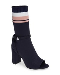 Navy Elastic Ankle Boots