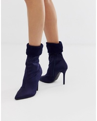 Missguided Sock Ankle Boot In Navy