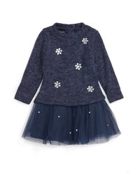 Kate Mack Infant Girls Style Prodigy Embellished Tulle Hem Sweater Dress