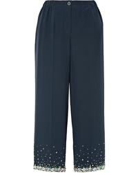 Miu Miu Cropped Embellished Silk Crepe De Chine Wide Leg Pants