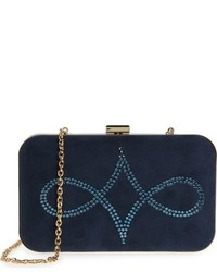 Crystal embellished suede clutch blue medium 784785