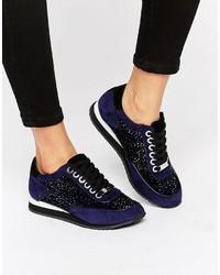 Carvela Lemmy Embellished Suede Sneakers