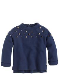 J.Crew Girls Embellished Back Zip Sweatshirt