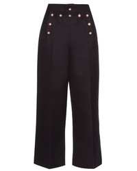 Navy Embellished Wide Leg Pants